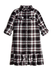 Ruffled Plaid Shirtdress (7-14)