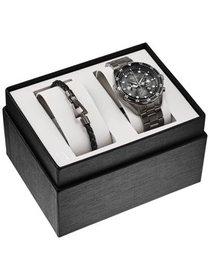Bulova Men's Chronograph Boxed Set Watch with Leat