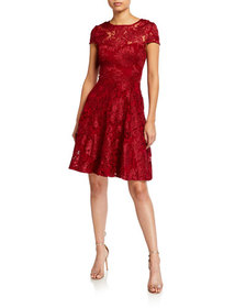 Neiman Marcus Embroidered Lace Fit-&-Flare Dress
