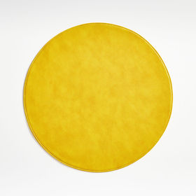 Crate Barrel Maxwell Yellow Round Easy Care Placem