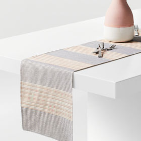 """Crate Barrel Grid 90"""" Embroidered Table Runner"""