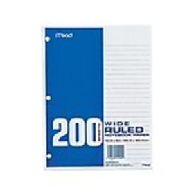 Mead Wide Ruled Filler Paper, 8 x 10.5, White, 200