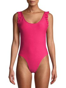 Juicy Couture Womens One-Piece Swimsuit With Ruffl