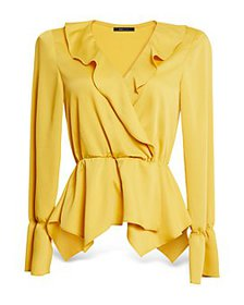 BCBGMAXAZRIA - Satin Ruffled Crossover Blouse