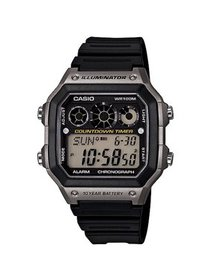 Men's Classic Digital Watch with Black Resin Strap