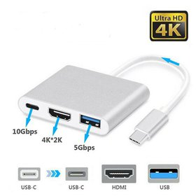 USB-C to HDMI Adapter 4K 3-in-1 Type C Adapter Mul