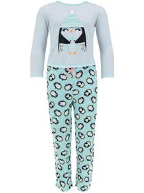 Rene Rofe Girl's Long Sleeve 3D Tee and Pant Pajam