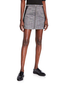 BCBGeneration Faux-Leather and Striped Mini Skirt