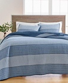 Nautical Stripe Quilt and Sham Collection, Created