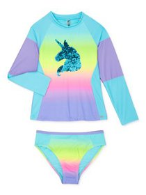 XOXO Girls Unicorn Long Sleeve Rashguard Swim Shir