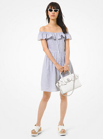 Michael Kors Striped Linen and Cotton Off-The-Shou