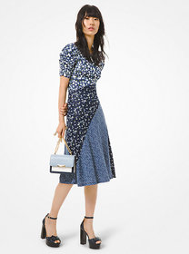 Michael Kors Mixed Floral Matte Jersey Ruched-Slee