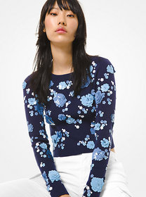 Michael Kors Floral Sequined Supima Cotton Sweater