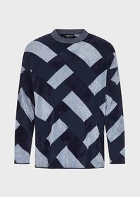 Armani Chenille sweater with geometric inlay