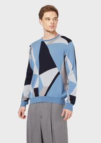 Armani Wool sweater with geometric intarsia knit