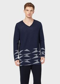 Armani V-neck sweater with decorated hem