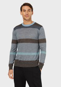 Armani Striped crew-neck sweater in wool and silk