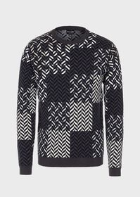 Armani Crew-neck sweater with maxi chevron motif