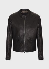 Armani Misted nappa leather blouson with embroider