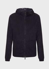 Armani Suede jacket with strips of colour-matched,
