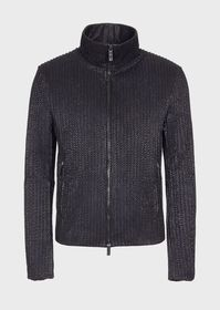 Armani Leather jacket with geometric silkscreen pr