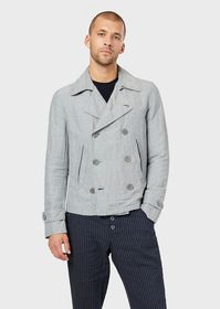 Armani Double-breasted pea coat in basket weave fa