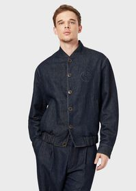 Armani Linen-denim blouson with logo