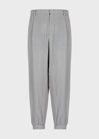 Armani Basket weave linen trousers with darts
