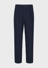 Armani Mixed-linen trousers with a chevron-style l