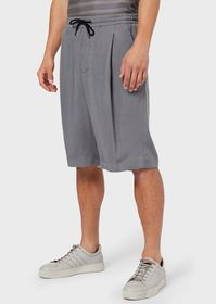 Armani Darted, washed cupro Bermuda shorts