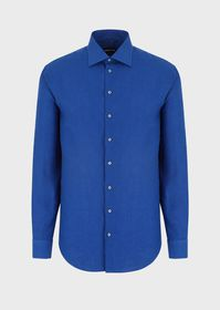 Armani Regular-fit shirt in plain-coloured linen