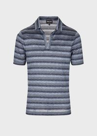 Armani Graduated weave silk and cotton polo shirt