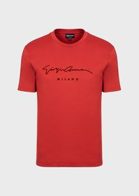 Armani Cotton T-shirt with flocked signature print