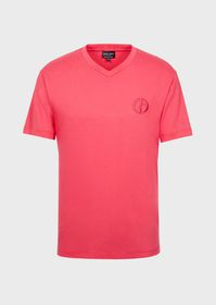 Armani T-shirt with a V-neck and a tone-on-tone em