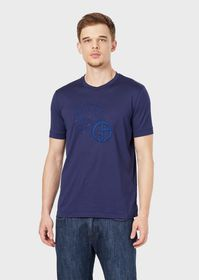 Armani Jersey T-shirt with embroidered logo and li