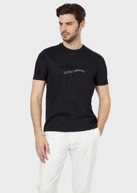 Armani T-shirt in pima cotton with flocked print a