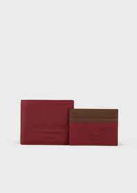 Armani Full-grain leather wallet and key ring