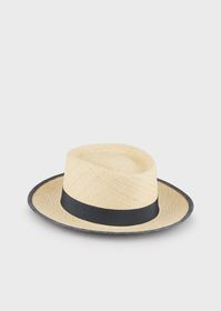 Armani Natural straw boater hat