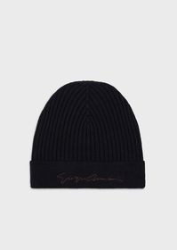 Armani Rib knit beanie hat with embroidered signat