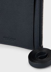 Armani Full-grain leather card holder with wrist s