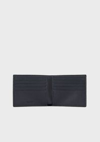 Armani Vertical leather bifold with embossed logo