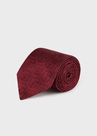 Armani Silk satin tie with all-over logo pattern