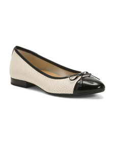 AEROSOLES Comfort Bow Cap Toe Leather Ballet Flats