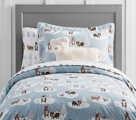 Pottery Barn Winter Bear Flannel Duvet Cover