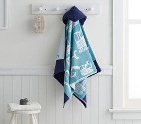 Pottery Barn Construction Kids Hooded Towel