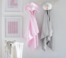 Pottery Barn Winter Critter Kids Hooded Towels