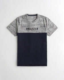 Hollister Colorblock Logo Graphic Tee, HEATHER GRE