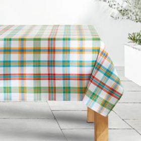 Summer Check Oilcloth Outdoor Tablecloth