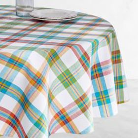 Summer Check Oilcloth Outdoor Round Tablecloth