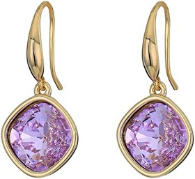 """Kenneth Jay Lane 1 1/8"""" Faceted Square Violet Ston"""